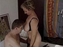 Perfect Hairy Granny Sucks and Fuck Young Dude