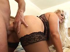 A Big Blond Woman Sucks Cock And Gets Fucked Doggie Style