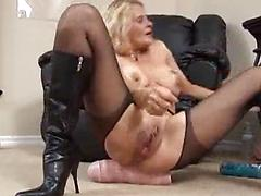 Slutty Blonde Whore In Stockings Opens Up Stuffs Huge Dildo