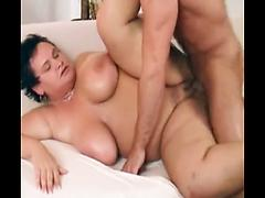 Saggy Tit Brunette Chubby Milf Get Oiled Up And Used