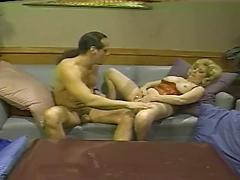 Hot And Horny Blonde Granny Sucks And Fucks On The Couch