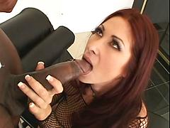 Fishnet Wearing Redhead Wants A Bbc Deep Up The Butt
