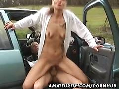 Amateur housewife sucks and fucks in her car with cumshot