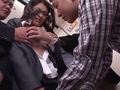 Asian girl gets fucked by a group of crazy guy in the train
