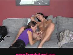Brunette girl gets licked by a lesbian female agent