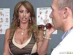 Busty nurses in uniforms seduce and fuck a patient in a hospital