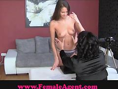 Long-haired lesbian slut shows off her pussy licking skills