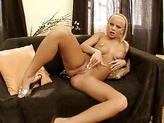 Blonde with velvet skin and big tits fingering her juicy snatch