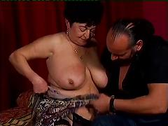 Plump granny in fishnet stockings craves for hot banging